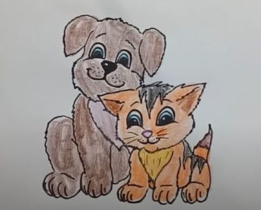 How to draw Dog and cat cute and easy