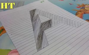How to draw Letter A Hole in Line Paper