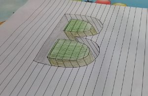 How to draw Letter B in 3D Easy - 3D Drawing